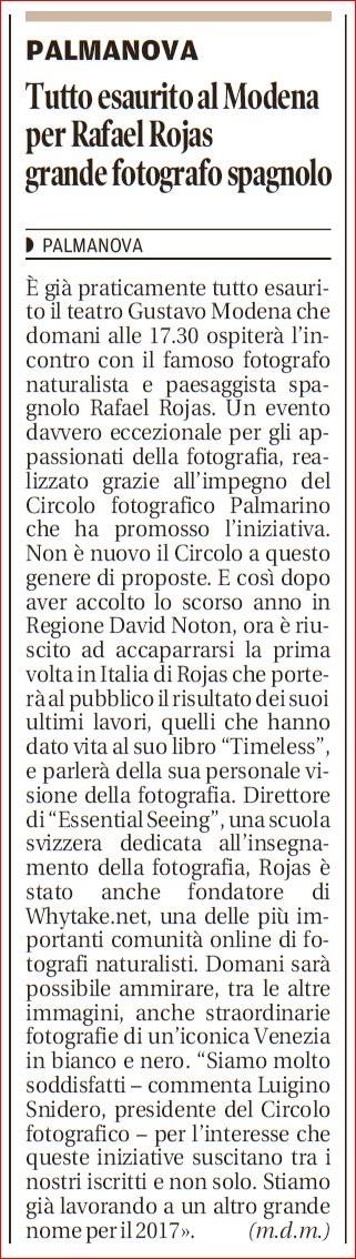 Messaggero Veneto 25/11/2016